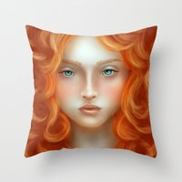 rebel Throw Pillows featuring Rebel by Alexia Rose