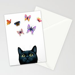 Cat 606 with butterflies Stationery Cards