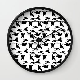 sloths pattern bw Wall Clock