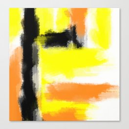 orange yellow and black painting abstract with white background Canvas Print