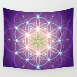 Purple Flower of Life Wall Tapestry