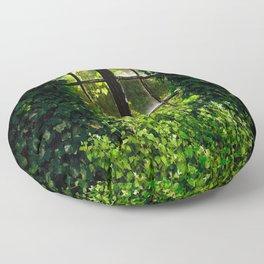 Green idyllic overgrown cottage garden window Floor Pillow
