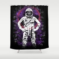 buzz lightyear Shower Curtains featuring This Ain't No Buzz Lightyear Action Flick by WhotheFisJC