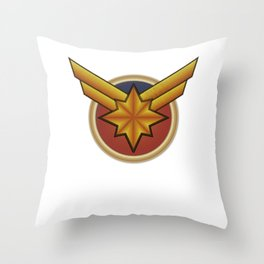 Captainmarvel embroidered Throw Pillow