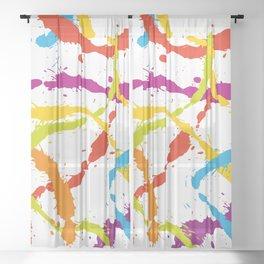 Splattered Rainbow [WHITE] Sheer Curtain
