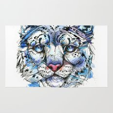 Icy Snow Leopard Rug