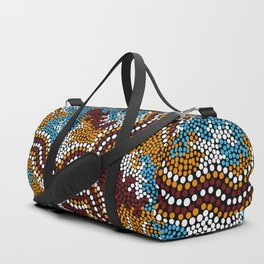 Authentic Aboriginal Art - Wetland Dreaming Duffle Bag