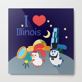 Ernest and Coraline | I love Illinois Metal Print
