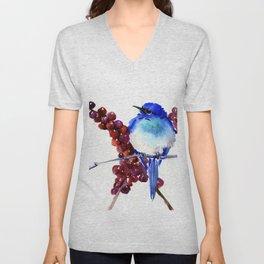 Bird Blue red , Mountain Bluebird adn berries Unisex V-Neck