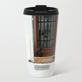 Two cats on White Stairs Metal Travel Mug