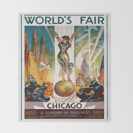 Vintage World's Fair Chicago IL 1933 Throw Blanket