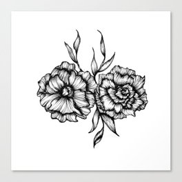Two Inked Flowers Canvas Print