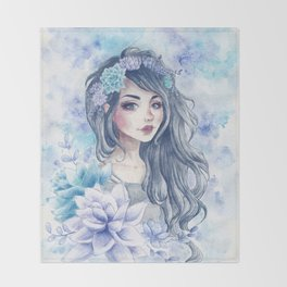 Girl with succulent headpiece Throw Blanket
