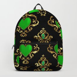 Green hearts gold frame pattern Backpack