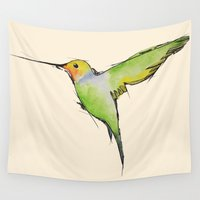 hummingbird Wall Tapestries featuring Hummingbird by Adele Manuti