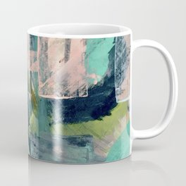 Connect [4] : a vibrant acrylic abstract in neon green, blues, pinks, & hints of orange Coffee Mug