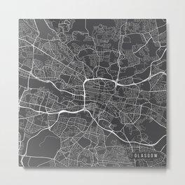 Glasgow Map, Scotland - Gray Metal Print