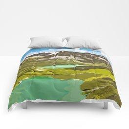 alpine mountain view vector art Comforters