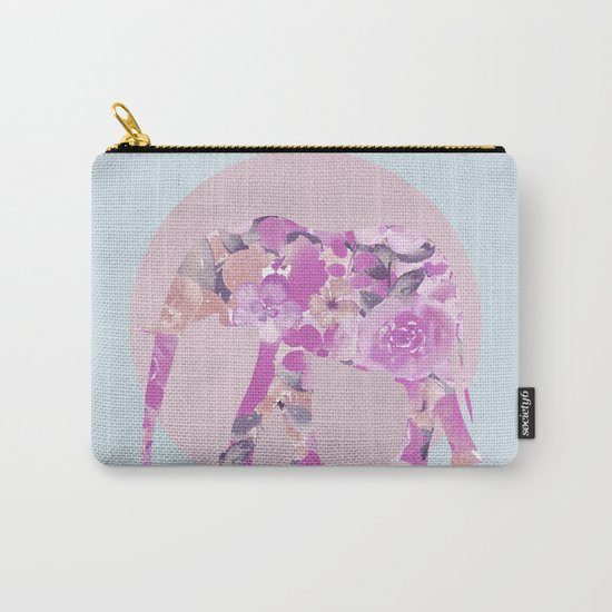 Floral Elephant and circle pastel blue pink colors Carry-All Pouch
