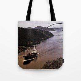 Ship sailing Ringdalfjord between Norway and Sweden I Tote Bag