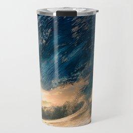 Beach - Waves - Ocean - Sun - Clouds - Blues - Sundown Travel Mug