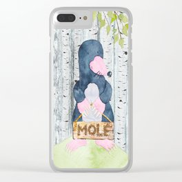 The busy Mole - Woodland Friends- Watercolor Illustration Clear iPhone Case