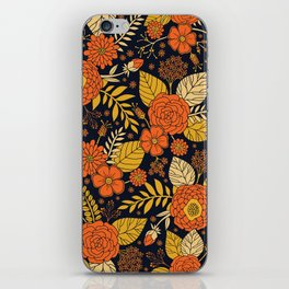 Retro Orange, Yellow, Brown, & Navy Floral Pattern iPhone Skin