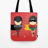super heroes Tote Bags featuring Heroes & super friends! by Juliana Rojas | Puchu
