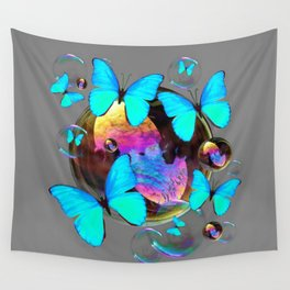 ABSTRACT NEON BLUE BUTTERFLIES & SOAP BUBBLES GREY COLOR Wall Tapestry