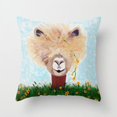 Llama with Flower Throw Pillow