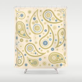 Paisley Funky Design Cream Golds Blues Shower Curtain