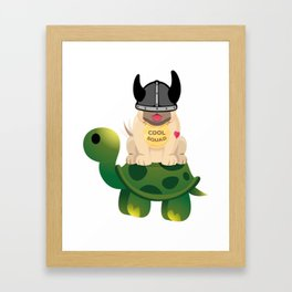 Cool Squad Viking Warrior Pug and Turtle Framed Art Print