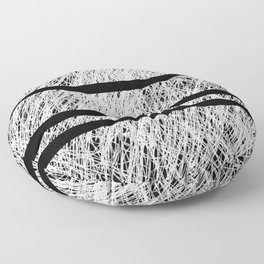 Interrupted Thoughts - Abstract Black And White Floor Pillow