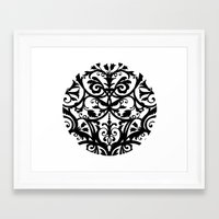 wall clock Framed Art Prints featuring Folk Art wall clock by Laura Barrett