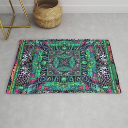 no. 302 orange green blue pink black and white Rug