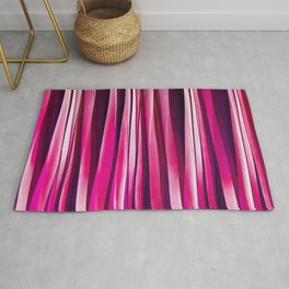 Burgundy Rose Stripy Lines Pattern Rug