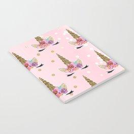 Floral Trendy Modern Unicorn Horn Gold Confetti Notebook