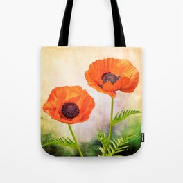 Two beautiful poppies with textures Tote Bag