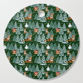 Corgis in the winter mountains - green pattern Cutting Board