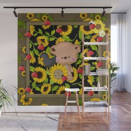 Rustic Sunflowers Bear And Black Crow Ladybugs Wall Mural