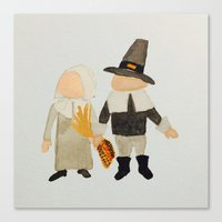 toddler Canvas Prints featuring Thanksgiving Pilgrim Toddler Girl and Boy Couple by PodArtist