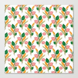 Cute Hand Paint Green Foliage Pink Design Canvas Print