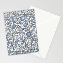 William Morris Navy Blue Botanical Pattern 6 Stationery Cards