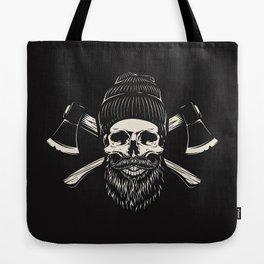 Bearded Lumberjack Skull Tote Bag