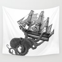 kraken Wall Tapestries featuring Release the Kraken by John Medbury (LAZY J Studios)