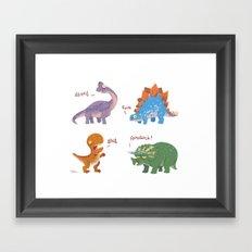 Potty Mouth Dinos Group Framed Art Print