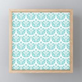 Mid Century Modern Flower Pattern 731 Turquoise Framed Mini Art Print