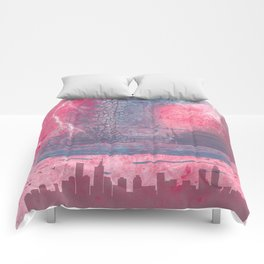 Town and the storm, pink, gray, blue Comforters