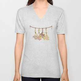 herbs in pastel colors . Unisex V-Neck