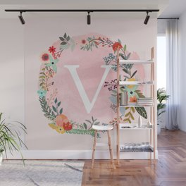 Flower Wreath with Personalized Monogram Initial Letter V on Pink Watercolor Paper Texture Artwork Wall Mural